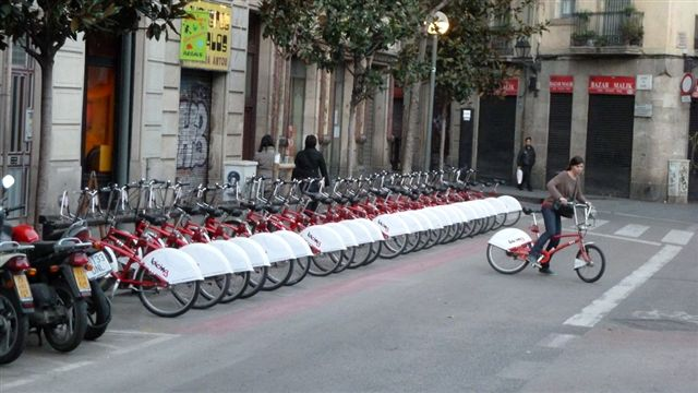 Bicycles in Barcelona, low resolution